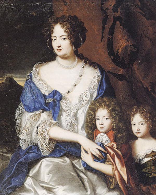 Sophie Dorothea, seit 1682 Gattin von Georg Ludwig , mit ihren Kindern