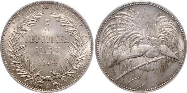Nr. 3221: DEUTSCH-NEUGUINEA. 5 Mark 1894 A, Paradiesvogel (PCGS MS-66). Taxe: 10 000,– Euro