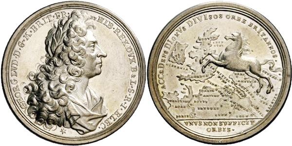 """Medaille 1714 von Georg Wilhelm Vestner 1714 auf den Regierungsantritt Georgs I. in Großbritannien. Das Welfenroß springt von Hannover nach London. Die Umschrift  der Rückseite lautet übersetzt:  """"Eine Welt genügt nicht""""."""