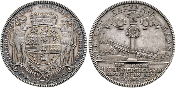 Nr. 1982: BRAUNSCHWEIG-LÜNEBURG. Carl I. Ausbeutetaler 1750 IBH, Zellerfeld. Taxe: 5000,– Euro