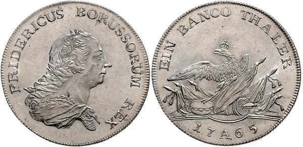 Nr. 1812: BRANDENBURG-PREUSSEN. Friedrich II. der Große. Bancotaler 1765 A. Taxe: 12 500,– Euro