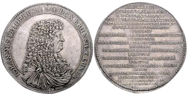 Nr. 1865: BRAUNSCHWEIG-LÜNEBURG. Johann Friedrich. 1 ½-facher Taler 1679, Clausthal.  Taxe: 10 000,– Euro
