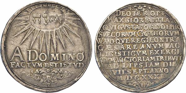 Los 1522: Schweden. Gustaf II. Adolf, 1611–1632. Reichstaler 1631, Erfurt. Jehova in Strahlenoval. Rs. Schrift. AAJ 21c. Dav. 4544.
