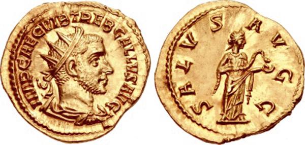 Doppelaureus (Binio) des Trebonianus Gallus (251–253 n. Chr.), 251 n. Chr., Rom; 6,24 g; 22 mm; RIC 13; Calicó 3346 (stempelgleich); Quelle: Classical Numismatic Group, Auktion 88, 14.09.2011, Nr. 1395