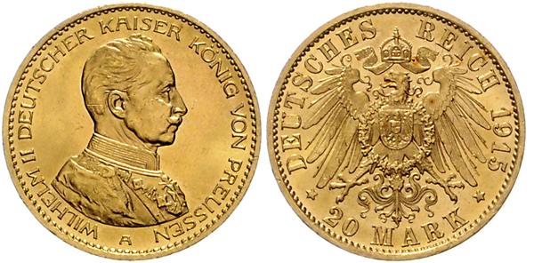 Nr. 3008: DEUTSCHES REICH. PREUSSEN. 20 Mark 1915 A, Uniformtyp. Taxe: 4500,– Euro