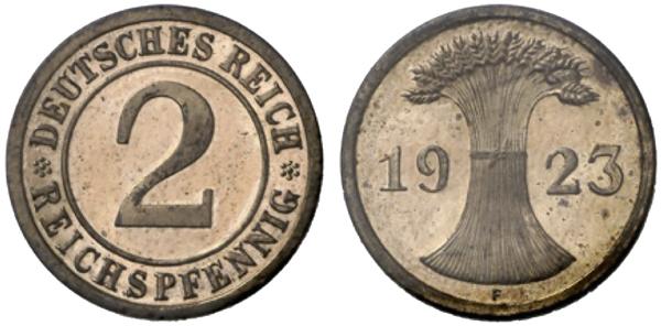 2 Reichspfennig 1923 F Stempelkopplung der Vorderseite vom 2 Reichspfennig (Jaeger 314) und der Rückseite vom 2 Rentenpfennig (Jaeger 307). Jaeger-Katalog: Anmerkung bei J. 314 Aus: Heidelberger Münzhandlung Herbert Grün, Auktion 55 (24.5.20119, Nr. 3025, Ergebnis 8.250 Euro Ausführung in Polierter Platte