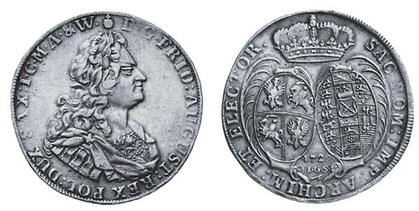 Das Allianzwappen auf dem Taler von 1729 unterstreicht, dass Kurfürst Friedrich August I. von Sachsen als August II. König von Polen war.