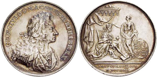 Medaille 1714 von Ehrenreich Hannibal auf die Krönung Georgs I. am 21. Oktober 1714