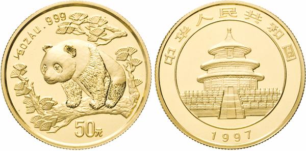 Los 1411: China, Volksrepublik, seit 1949. 50 Yuan 1997. Panda. ½ Unze. Großes Datum. Fb. B5. KM 990.
