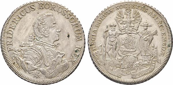 Los 1750: Handelspiaster o.J. (1751/1752) I.C.M(arme) in Aurich. Geprägt auf Vorschlag der königl. Preußisch-asiatischen Compagnie von Emden für den Handel mit China. Schrötter 1651. Olding 368. Dav. 2591.