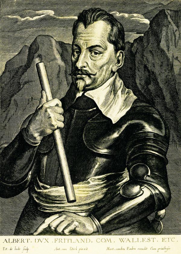 Albrecht von Wallenstein (1583-1634); Stich nach dem Gemälde von A. van Dyck um 1640