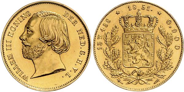 Nr. 1112: NIEDERLANDE. 20 Gulden 1851 (Negotiepenning).  Taxe: 9000,– Euro