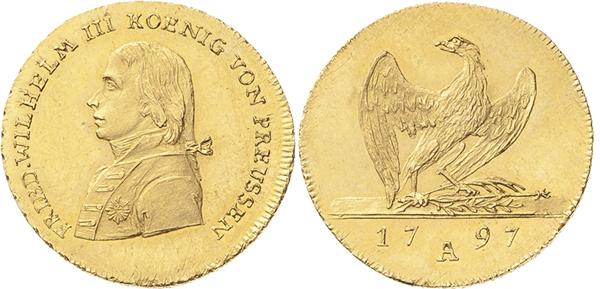 Nr. 4086: BRANDENBURG-PREUSSEN. Friedrich Wilhelm III. (1797–1840). Friedrichs d'or 1797 A, Berlin. 6,64 g. Friedenstyp. Olding 207. Jaeger 101. Schlumberger 524. Friedberg 2425. Vorzüglich–Stempelglanz. Taxe: 1300,– Euro