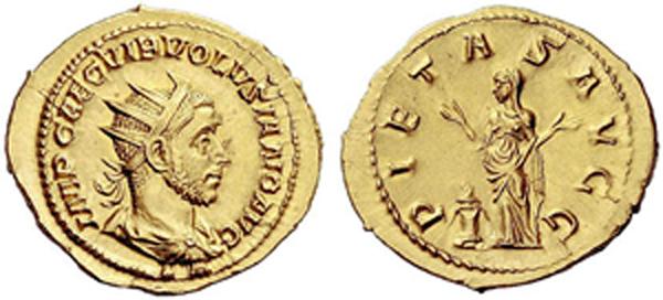 Doppelaureus (Binio) des Volusianus (251–253 n. Chr.), Rom; 6,08 g; 23 mm; C. -; RIC 151; Calicó 3365; Quelle: Numismatica Ars Classica, Auktion 62, 06.10.2011, Nr. 2065