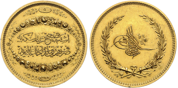 Nr. 1315: TÜRKEI. Abdul Mejid. Goldene Prämienmedaille 1844. Taxe: 20 000,– Euro