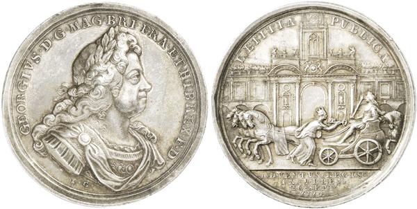 Medaille 1714 von John Croker auf die  Ankunft Georgs I. in London. Die Stadtgöttin von London überreicht dem König den Torschlüssel.
