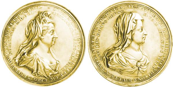 Medaille von S. Lambelet auf die englische Thronfolge von Sophie von Braunschweig und Lüneburg.
