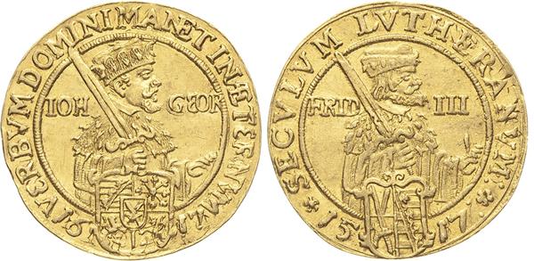 Nr. 4094: SACHSEN. Johann Georg I. (1611–1615–1656). Doppeldukat 1617 ohne Münzzeichen, Dresden, auf das Reformationsjubiläum. 6,90 g. Clauß/Kahnt 259. Slg. Whiting 67,.Friedberg 2662. Selten. Leichte Überprägung. Vorzüglich–prägefrisch. Taxe: 2800,– Euro