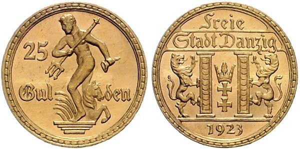 Nr. 3198: DANZIG. 25 Gulden 1923. Taxe: 7500,– Euro