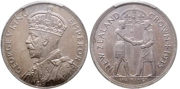 Nr. 1102: NEUSEELAND. Waitangi-Crown 1935 (PCGS PR-64; im Satz). Taxe: 10 000,– Euro