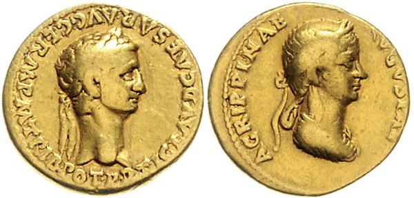 Nr. 253: ROM. Claudius und Agrippina. Aureus. Taxe: 6500,– Euro