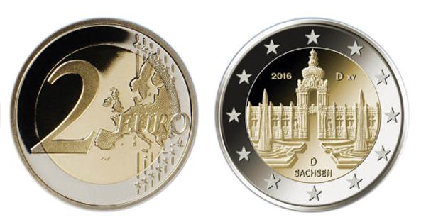 Die neue Zwei-Euro-Münze mit dem Dresdner Zwinger wurde in allen deutschen Prägeanstalten in einer Gesamtauflage von 30 Millionen Exemplaren hergestellt.  Foto: BADV