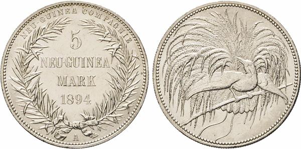Los 2101: Deutsch-Neu-Guinea. 5 Neu-Guinea Mark 1894 A. Stempel von E. Weigand (Vs) und Otto Schultz (Rs), beide Berlin. Paradiesvogel. J. 707. Dav. 429. Kerbrand. Auflage 23.000 Stück, davon später 3906 Expl. Eingeschmolzen.