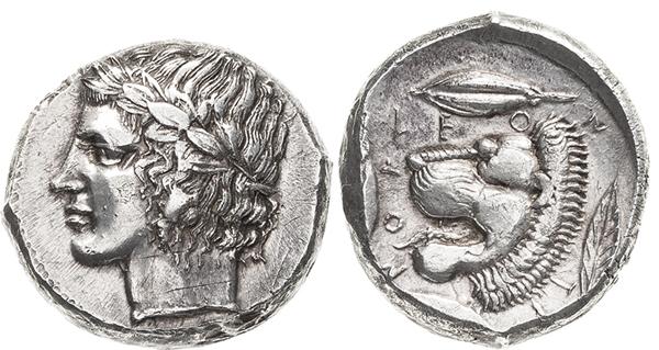 Nr. 3875: LEONTINOI (Sizilien). Tetradrachmon um 430/425 v.u.Z. 16,83 g. BMC –. SNG ANS 257. SNG Cop. –. Prachtvolles Exemplar. Vorzüglich.  Taxe: 3500,– Euro