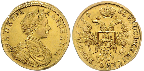 Nr. 1181: RUSSLAND. Peter der Große. Dukat 1714. Taxe: 17 500,– Euro