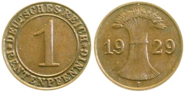 1 Rentenpfennig 1929 F Stempelkopplung der Vorderseite vom Rentenpfennig (Jaeger 306) und der Rückseite vom Reichspfennig (Jaeger 313). Jaeger Katalog: Anmerkung bei J. 306 Diese Stempelkopplung kommt relativ häufig im Handel vor.