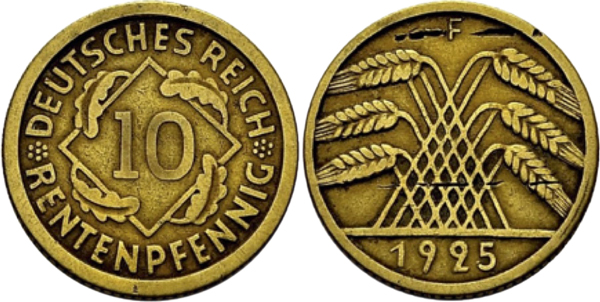 10 Rentenpfennig 1925 F Stempelkopplung der Vorderseite vom 10 Rentenpfennig (Jaeger 309) und der Rückseite vom 10 Reichspfennig (Jaeger 317). Jaeger Katalog: Anmerkung bei J. 309 Eventuell auch eine normale Rentenpfennig Ausgabe.