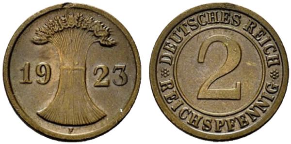 2 Reichspfennig 1923 F Stempelkopplung der Vorderseite vom 2 Reichspfennig (Jaeger 314) und der Rückseite vom 2 Rentenpfennig (Jaeger 307). Jaeger-Katalog: Anmerkung bei J. 314 Aus: Auktionshaus H. D. Rauch, Auktion 94 (9.4.2014), Nr. 2296, Ergebnis 1.050 Euro Ausführung in normaler Prägung