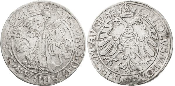 Nr. 4382: CORVEY. Reinhard II. von Buchholz (1555–1585). Taler (24 Groschen) 1558, Höxter. Münzmeister Johann Weienhoff. Weingärtner 65 e. Ilisch/Schwede 33. Davenport 9166. Von größter Seltenheit. Auf der Vorderseite kleine Graffiti. Rand leicht bearbeitet. Sehr schön. Taxe: 15 000,– Euro