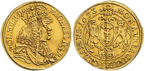 Nr. 1161: POLEN Michael Korybut Wisniowiecki. Dukat 1673 DL.  Taxe: 5500,– Euro