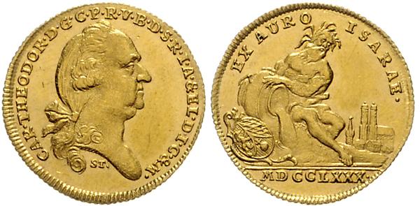 Nr. 1655: BAYERN. Karl Theodor Isargold-Dukat 1780, München.  Taxe: 7500,– Euro