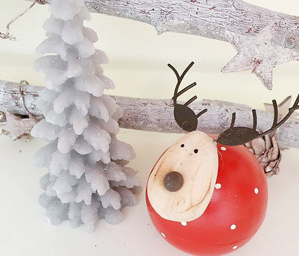 Red Polka-dot Wooden Reindeer