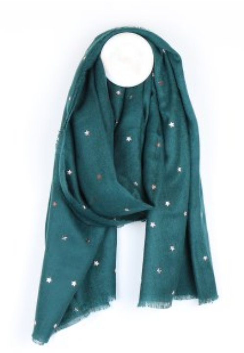 Teal green loose weave scarf with rose gold stars