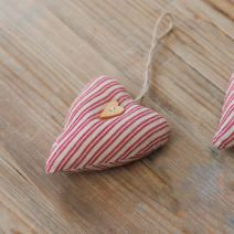 Textile Stripe Beige and Red Heart