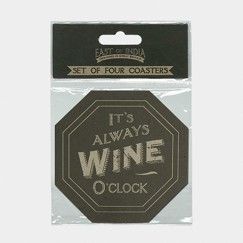East Of India Four Cardboard Coasters It's Always wine O'clock