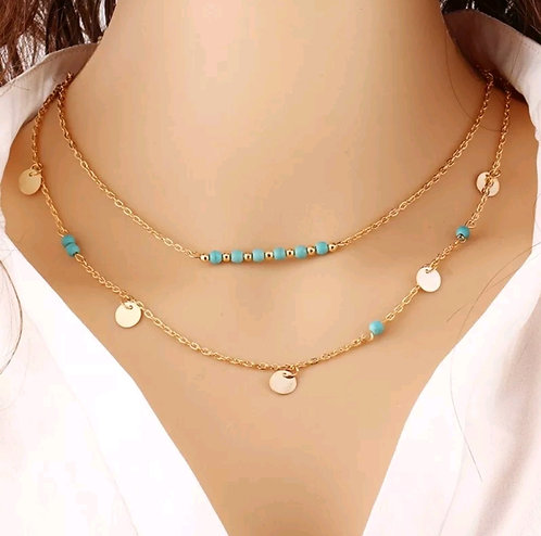 Boho Festival Turquoise Double Layered necklace