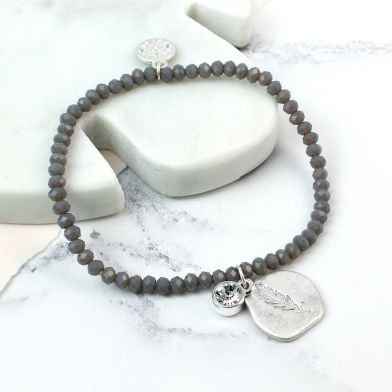 Silver Plated Feather Imprint Crystal bracelet