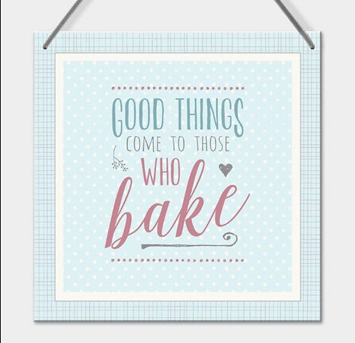 East of India Square grey hanging sign - Good things come to those who bake