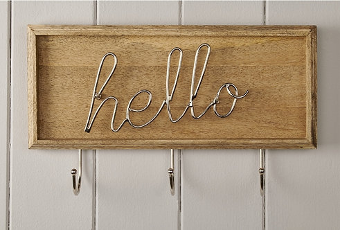 Hello Hook Wooden Plaque