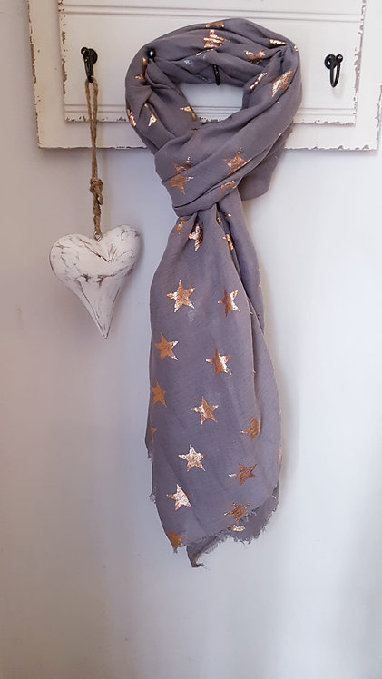 Stunning Grey scarf with Rose Gold Stars