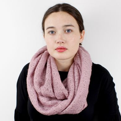 Soft knitted snood in a dusky vintage pink