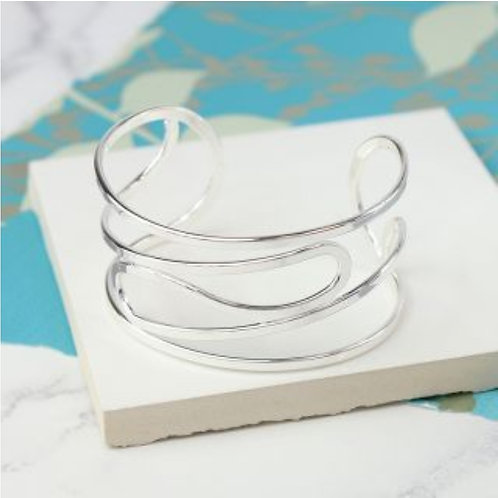 Silver Plated Curved Open Wire Bangle