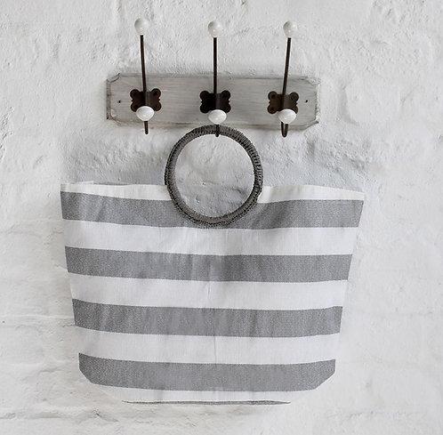 Grey Stripe Summer Bag