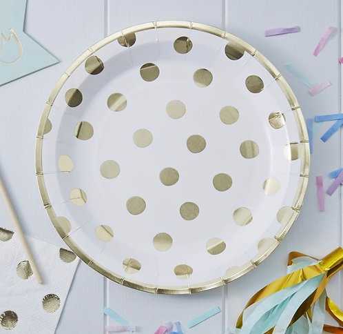 Ginger Ray Gold Foiled Polka Dot Paper Plates