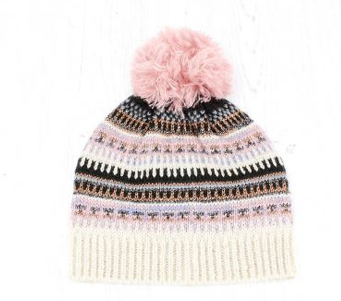 Ivory Mix Fair Isle Bobble Hat