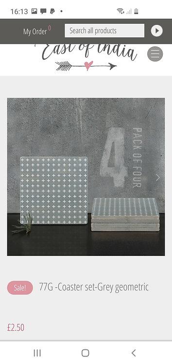 Grey Geometric Coaster Set of 4